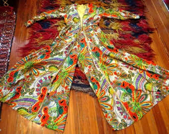 Outrageous Psychedelic Print Palazzo Jumpsuit with Metallic Trim