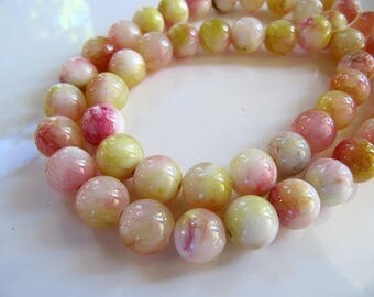 8mm Mountain JADE Beads in Turquoise, Yellow, Pinkish Red and Cream, Dyed, Round, 1 Strand 16 Inches, Approx 50 Beads Gemstone Beads