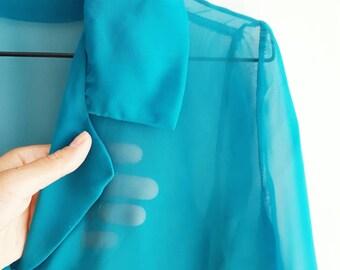 Turquoise gauzy blouse - 1980