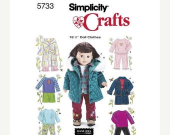 Spring Sale Doll Clothes for 18 Inch Doll Elaine Heigl Designs Simplicity 5733 Uncut Factory Folds Doll Clothes Sewing Pattern