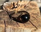 Black Jasper stone antique brass / gold wire wrapped Ring - size 9 1/4 - handmade gemstone wrap natural men women unisex jewelry