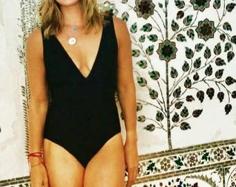 Black Sexy Swimsuit with Bust Gathering