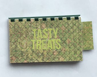 Handmade Lime Green 'Tasty Treats' Blank Recipe book for Your Personal Recipes