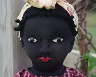 The Little Hamptons Ebony, 26 inch art doll, inspired by antique Beecher type cloth dolls. Designed & made by Lynda Hampton