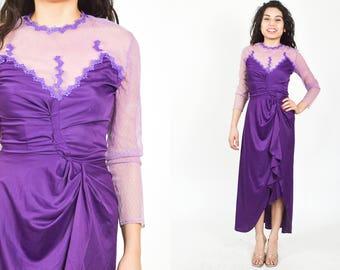 PURPLE MESH LACE Dress. 70's 80's Long Asymmetrical Hem. V Neckline Long Sheer Sleeves. Fitted Bodycon. High Waist. Size Small/Medium
