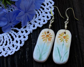 Summer Flower Earrings made with Polymer Clay ,Handmade Earrings, Polymer Clay Flower Earrings, Boho Earrings