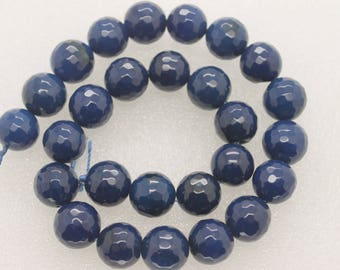 Royal Blue Agate Faceted Round Beads 14mm, 15 Inch Strand