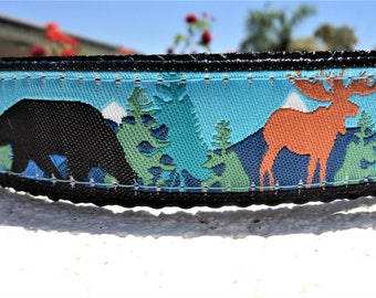 "Dog Collar, Moose and Bear, Blue, Martingale collar, or Quick Release buckle collar  1"" wide adjustable - see details within"
