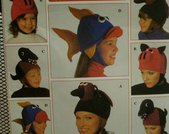Teazer Hats Pattern, Kooky Ornaments, Fish, Pig, Dinosaur, Dog, Fleece, Self Lined, Ear Flaps, Velcro Closing, Simplicity No. 7852 UNCUT