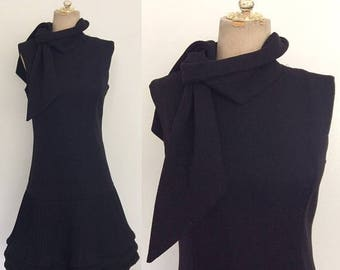 30% OFF 1970's Black Polyester Drop Waist Dress w/ Pleated Skirt Size Medium by Maeberry Vintage
