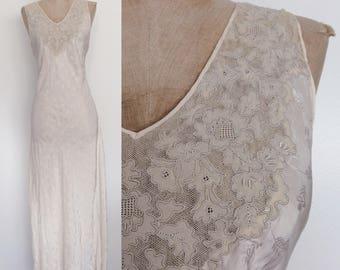 1940's White Silk Slip Dress w/ Embroidered Neckline Size Large XL by Maeberry Vintage