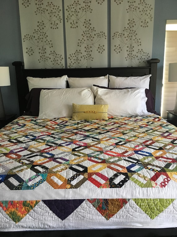 Contemporary Handmade Cracker Scrappy Quilt - large size