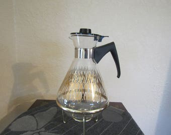 Vintage Retro 1950's PYREX Gold Painted Glass Coffee Carafe with Gold Metal Stand