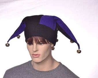 Black Purple Jester Hat with Gold Bells Three Point Fleece Harlequin Cap The Fools Hat