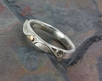 Sterling and Gold Band, Size 7.5