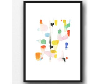 Watercolor Print, Abstract Watercolor print, colorful painting, Contemporary Wall Art