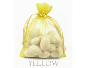 10 Yellow Organza Bags, 20x21 Inch Sheer Fabric Yellow Favor BagsBags