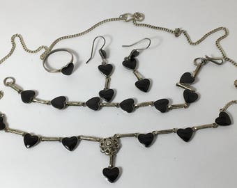 Vintage Silver and Black Heart Suite Necklace Bracelet Earrings Ring