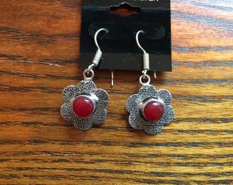 Flower Earrings, Red Coral Earrings, Dangle Earrings, Gemstone Earrings, Gift for Her, Sterling Silver Flower Jewelry, Red Coral Jewelry