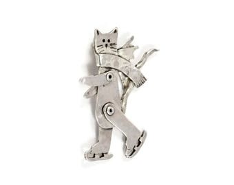 Sterling Cat Jewelry, Cat Jewelry For Women, Kitty Lovers Jewelry Gift For Her, Robin Wade, Talulah Skates Through Life Kitty Angel, 2570