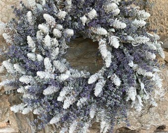 "18"" Lavender and Lamb's Ear Wreath - Dried Flowers"