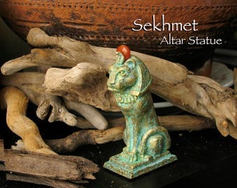 Sekhmet Altar Statue - Ancient Egyptian Lioness - She Who is Powerful - Handcrafted with Carnelian Solar Disc -Aged Brass Patina Finish
