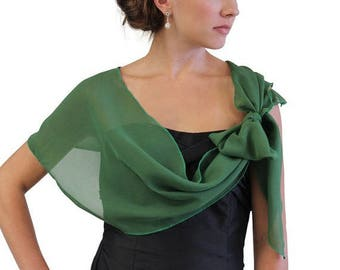Summer Sale Chiffon Bridal Wrap Wedding Shawl - Clover Green 5139CH