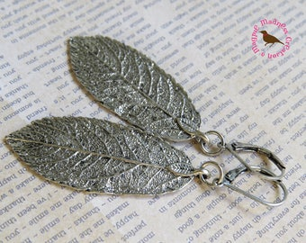Long Silver Leaf Earrings, Rustic Antiqued Silver Leaf Earrings, Long Boho Leaf Charm Earring, Silver Leaf Earring, MagpieMadness for Etsy