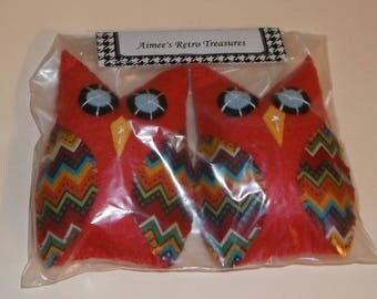 2 Hand Crafted Felt Owl Ornaments Ornies -  Red