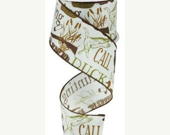 SUPPLY SALE 2.5 Inch Duck Hunting Ribbon RG188930, Ivory / Brown / Moss Green, Wreath Supplies