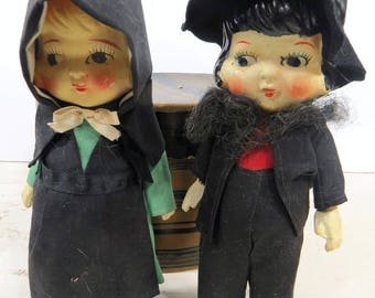 Bisque Amish Girl & Boy Dolls Vintage Pennsylvania Dutch Jointed Arms Frozen Charlotte