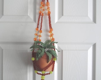 Vintage Beaded Plant Hanger with Clay Pot