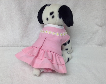 Female Dog Diaper Dress One Piece Pet Wrap Romper Bodysuit Overall Britches Doggie Pants Size xSmall To Large Pink Ruffles