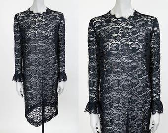 Vintage 60s Dress / 1960s Sheer Black Lace Long Sleeve Shift Dress L