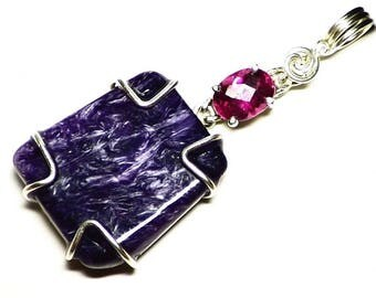 Rubellite Tourmaline and Charoite Pendant in Sterling Silver, Wire Wrapped Purple Charoite Cabochon Jewelry, Pink and Ruby Red Tourmaline