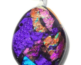 Modern fusing necklace, bright dichroic glass, bright, multicolored, handmade