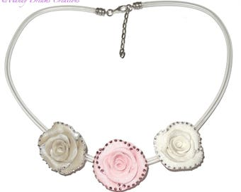 Necklace romance, roses in fimo and rhinestones crystal, white, pearl, pink, glitter