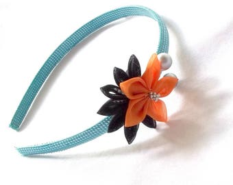 Unique Aqua Headband with Apricot Kanzashi Flower and Silver Berries Wearable Fiber Art