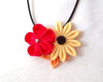 Bold Colors Red Peach Wearable Fiber Art Large Statement Flower Pendant Tsumami Kanzashi Necklace Fabric Jewelry