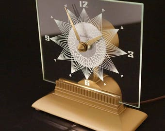 Vintage Lighted Starburst Mantle Clock Mastercrafters - Starlight Mid Century Modern Sunburst Atomic Eames Era 1950's 1960s