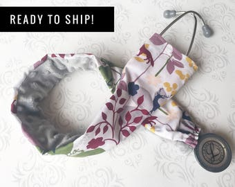 READY TO SHIP - Padded Stethoscope Cover, Nurse, Doctor, Nursing Student, Medical Assistant - Woodland with Gray, Stocking Stuffer