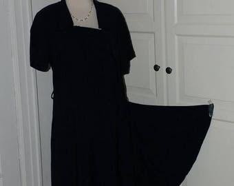 "ON SALE On Sale, 40s Dress, Navy Crepe, Side Drape, Cascade, Pleating, Size L/Xl, 42"" Bust"