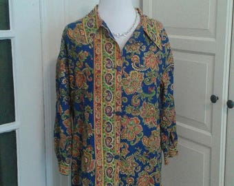 ON SALE 60s Paisley Cotton Shirt Dress, Mini, Shift, Saks Fifth Avenue by Julie, Navy, Red, Green, Yellow, Size Medium
