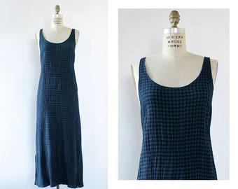 90s Minimalist Dress S/M • Green Plaid Dress • 90s Jumper Dress • Scoop Neck Dress • 90s Plaid Dress • Rayon Maxi Dress | D1714