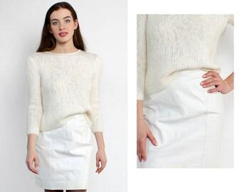 Leather Mini Skirt S • White Leather Skirt • Vintage Leather Skirt • 80s Mini Skirt • 90s Leather Skirt • Wilson Leather Skirt | SK1096