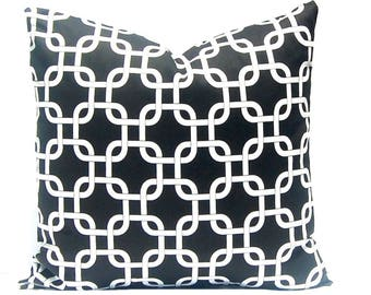 One Black Pillow Cover - Throw Pillow Cover - Black and White - Black Bedding - Black Pillow Shams - Sofa Pillow Covers - Chain Link