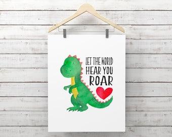 Dinosaur Nursery Art, Dinosaur Nursery Print, Dinosaur Printable, Dinosaur Wall Art, Dinosaur Watercolor Print, Dinosaur Print