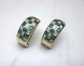 Vintage Emerald and Diamond Omega Clasp Wide Pierced Earrings
