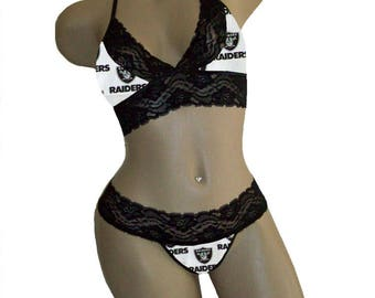 Sexy Oakland Raiders NFL Lingerie Black Lace Cami Bralette Style Tie-Top and Matching G-String Panty - B Cup Top, M Panty - Ready to Ship!