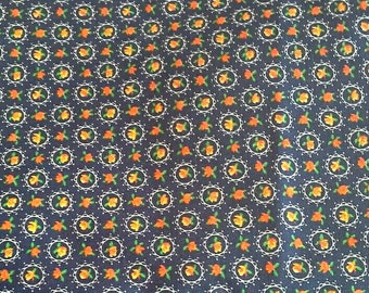 Tiny Roses in Red and Yellow on a Dark Blue Background Cotton Fabric 1 7/8 Yard X0893
